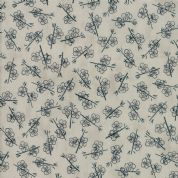 Moda - Origami - 6560 - Plum Blossom, Indigo on Grey - 1473 13 - Cotton Fabric